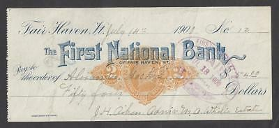 1900 Fair Haven Vermont Bank Check RN-X7