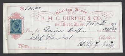 1882 Fall River Bank Check R-152