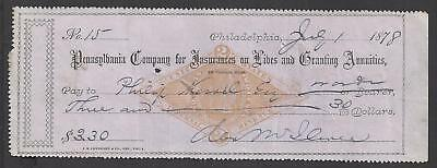 1878 Philadelphia Bank Check RN-G1