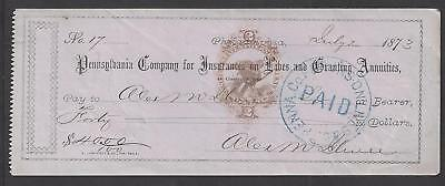 1873 Philadelphia Bank Check RN-H3