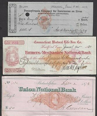 6 Bank Checks/Draft 1870-1881 w/RN's