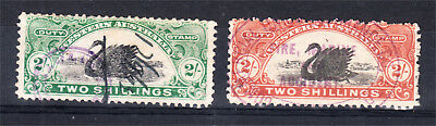 Western Australia 2/- Green + 2/- Red Bi-Colour Long Type Swans Used(L80)