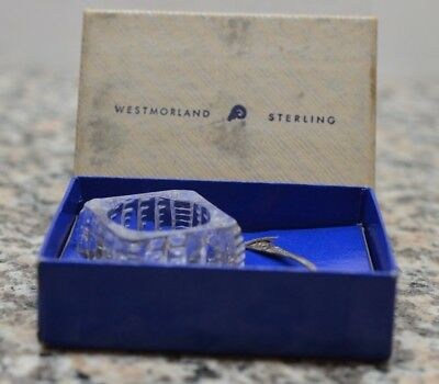Rare Westmoreland Glass Co MILBURN SALT WITH STERLING SPOON & BOX