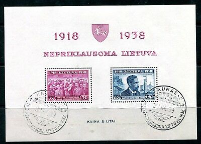 Lithuania 1939 20th Anniversary Independence min sheets perf and imperf cto used