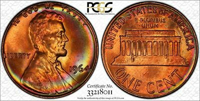 Finest Graded 1964 PCGS MS66+RB Rainbow Toned Lincoln Cent Pop 1/0 (cu199)