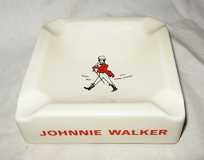 Johnnie Walker Scotch Whiskey Square Porcelain Ashtray E & A Bockling NEUDENAU
