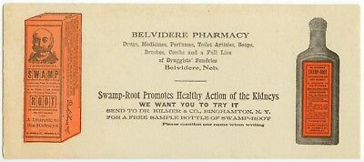 c1900 Dr. Kilmer Swamp Root medicine for kidneys ad blotter Belvidere Nebraska
