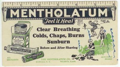 c1930s Mentholatum cough cold headaches medicine ad blotter Wichita Kansas
