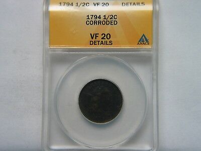 1794 1/2C ANACS VF 20 Detail Corroded Rare Key Date Type Coin