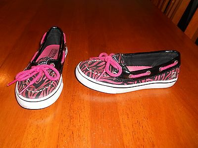 Sperry Top Sider girls boat shoes size 10.5 M Biscayne 1 eye pink black