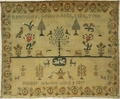 Early 19Th Century Adam & Eve & Motif Sampler By Hannah Johnson Aged 9 - 1819?