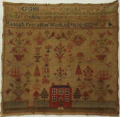 Early 19Th Century Red House, Figures & Motif Sampler By Hannah Peers - 1832