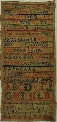 Mid 19Th Century Scottish Alphabet & Family Initials Sampler By Mary Gibson 1850