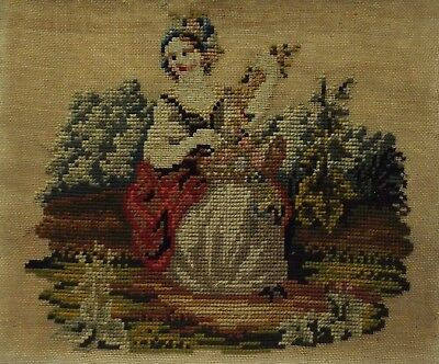 LATE 19TH CENTURY NEEDLEPOINT OF A YOUNG WOMAN MAKING A FLORAL GARLAND - c.1880