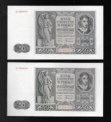 German Occupied Poland - 1941 50 Zlotych Banknotes - 4 In Numerical Sequence Cu