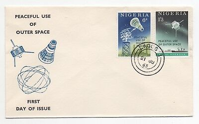 1963 NIGERIA First Day Cover PEACEFUL USE OF OUTER SPACE SG131/2 Satellite