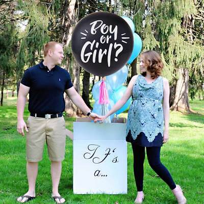 """36"""" Girl or Boy Gender Reveal Baby Shower Party Confetti Balloon Kit With Tassel"""