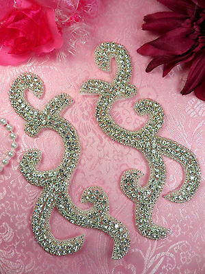 """JB261 Sequin Appliques Silver Mirror Pair Beaded Motifs Costume Patch 6.5/"""""""