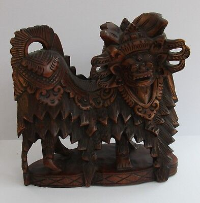 Antique Oriental Carved Wooden Barong / Beast