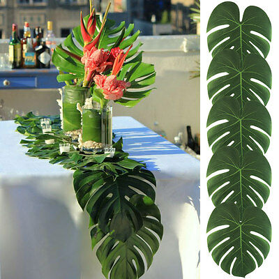 12×Large Tropical Palm Leaves Monstera Leaf Beach Hawaiin Luau Party Table Decor