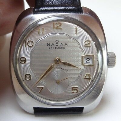 35) Nacar mécanique vintage, calibre Unitas 6425 (army movement) 17 rubis antich