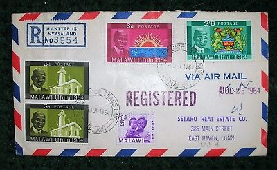 1964 Register Cover With 5 Stamps From Malawi To Usa W/several Back Stamps