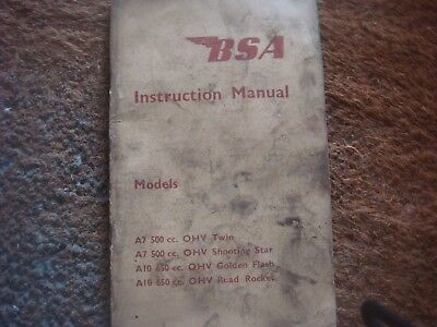 Vintage Bsa Instruction Manual For A7 & A10 Motorcycles