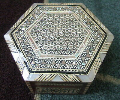 "Egyptian 6"" Octagon Jewelry Box W/ Scarabs Inside Egypt  Mother Of Pearl Inlays!"