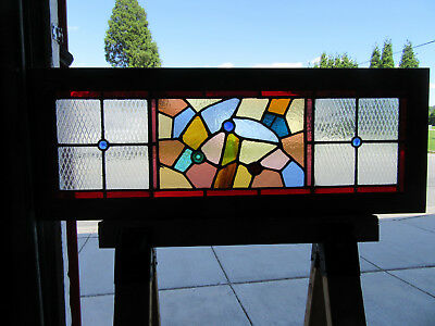 Antique American Stained Glass Transom Window 43 X 16 ~ Architectural Salvage ~