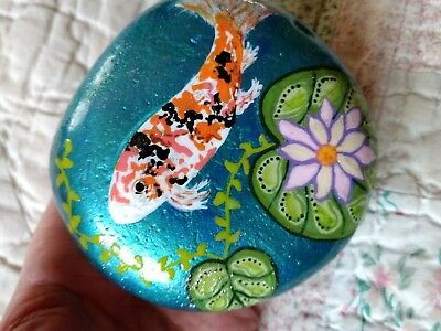 Hand Painted Large Koi Art Rock. Single Large Koi With Lilly Pads And Flower