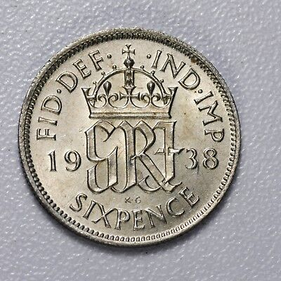 GB GEORGE VI SILVER SIXPENCE - 1938 ++ TOP-GRADE MS / UNC CONDITION! ++[1938-6d]