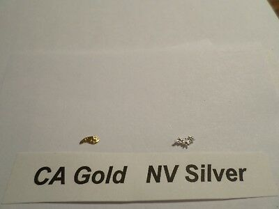 CA GOLD Placer (0.050 Grams) NV SILVER (0.057 Grams) 12 mesh Nuggets/Pickers.