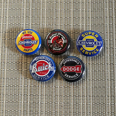 5 Vintage Rockabilly / Buick / Dodge / Chevrolet / Button / Badge / 1 Inch 25 mm