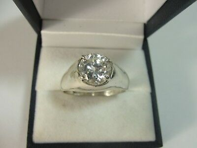 Men's .925 Sterling Silver CZ Solitaire Ring 2.5ct Size 12 & 7.0g