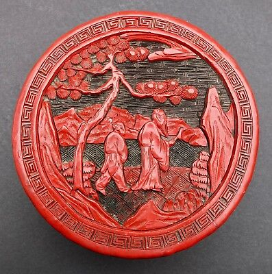 Antique Chinese Late Qing Dynasty Round Cinnabar Lacquer Box & Bonhams Appraisal