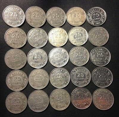 Vintage Belize Coin Lot - 25 Excellent Uncommon 25 Cent Coins - Lot #617