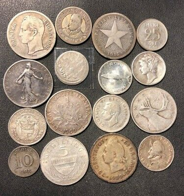 Vintage WORLD Silver Coin Lot - 1851-1967 - 16 Silver Coins - Lot #617