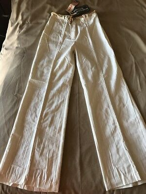 "Vintage 70s Women's Pants Bell Bottom High waist Beige hippie festival 29"" Waist"