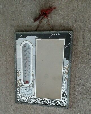 """Bank of Pickford Michigan Mirror & Advertising thermometer 7"""" x 9""""   25 Years"""