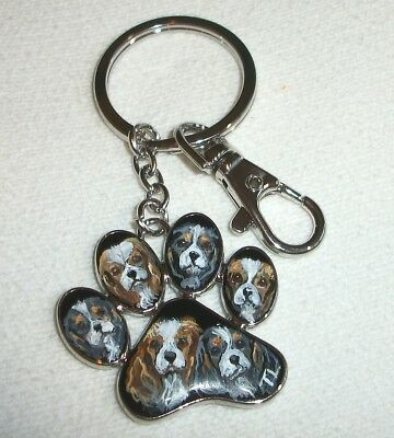 Hand Painted Cavalier King Charles Spaniel Key chain, Puppy paw