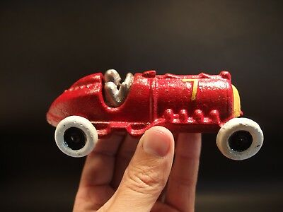 Antique Vintage Style Cast Iron Red #7 Hubley Race Car Toy Car