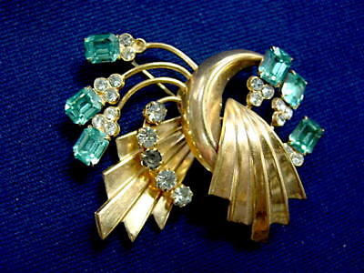 Superb Vintage ART DECO Aqua Rhinestone Pin Brooch - Layers 3-D 1930s-40s