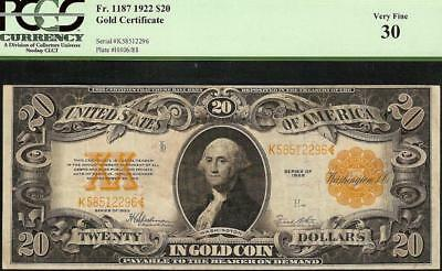 Large 1922 $20 Dollar Bill Gold Certificate Coin Note Big Paper Money Pcgs 30