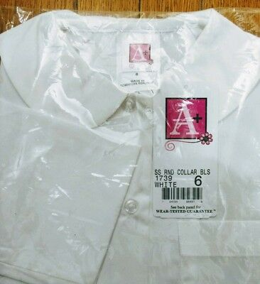 Girls Schoolbelles Round Collar Short Sleeve Button Down White Shirt Uniform 6
