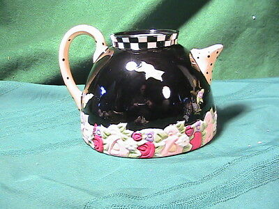 Vin Mary Engelbreit Black with flowers Teapot no lid cute vase or planter