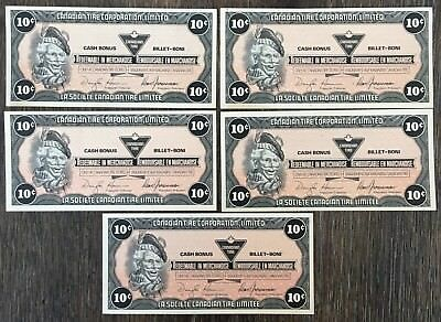Lot of 5x 1987 Canadian Tire 10 Cents Notes ***Crisp Uncirculated*** CTC-S9-C-BW