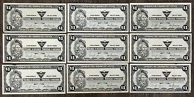 Lot of 9x 1985 Canadian Tire $1 Dollar Notes ***Great Condition*** CTC-S9-F