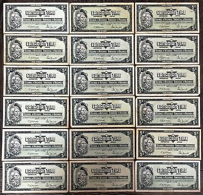 Lot of 18x 1974 Canadian Tire 5 Cents Notes - CTC-S4-B-BN