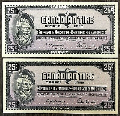 Lot of 2x 1974 Canadian Tire 25 Cents Notes *Crisp UNC w/ Consecutive Serials*