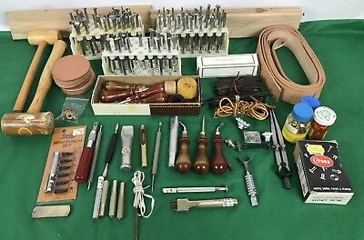 Large lot of 90 + Leather Working Tools & assorted accessories, many Vintage